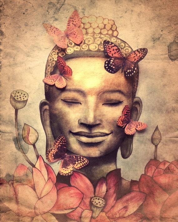 smiling buddha version original  art print