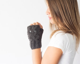 Sales Owl fingerless gloves dark grey wrist warmers hand warmers women's gloves half finger gloves wrist gloves texting gloves
