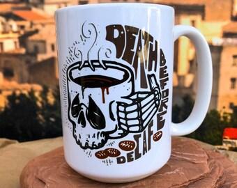Death Before Decaf.  11oz or 15oz Coffee Mug.
