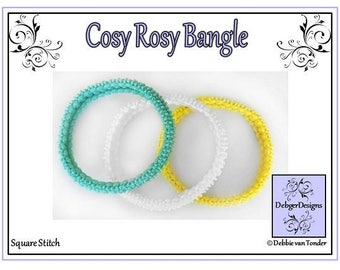 SuperDuo Beading Pattern, Tutorial, Bangle - COSY ROSY