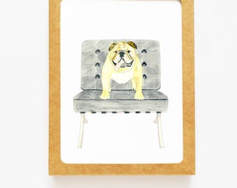 Pets and Famous Furniture Boxed Notes - Bulldog on Barcelona Set of 8