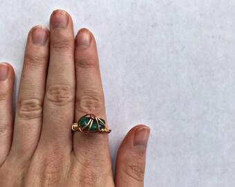 Rustic Green Quartz Ring - SIZE 6