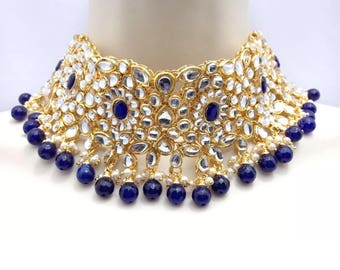 Handmade Kundan Necklace Set with Earrings and Tika Headpiece Indian Jewelry Patti Set Indian Jewellery Bollywood jewellery