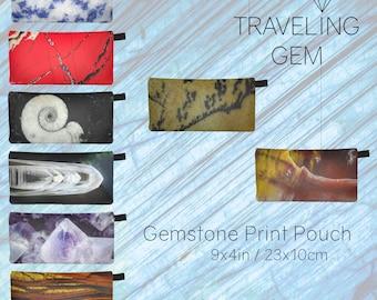 Crystal Printed Clutch - Gem Design Pouch Bag - Accessory Case - Makeup Bag - Stone Art - Rockhound Gift - Zipper Gemstone Art Print Clutch
