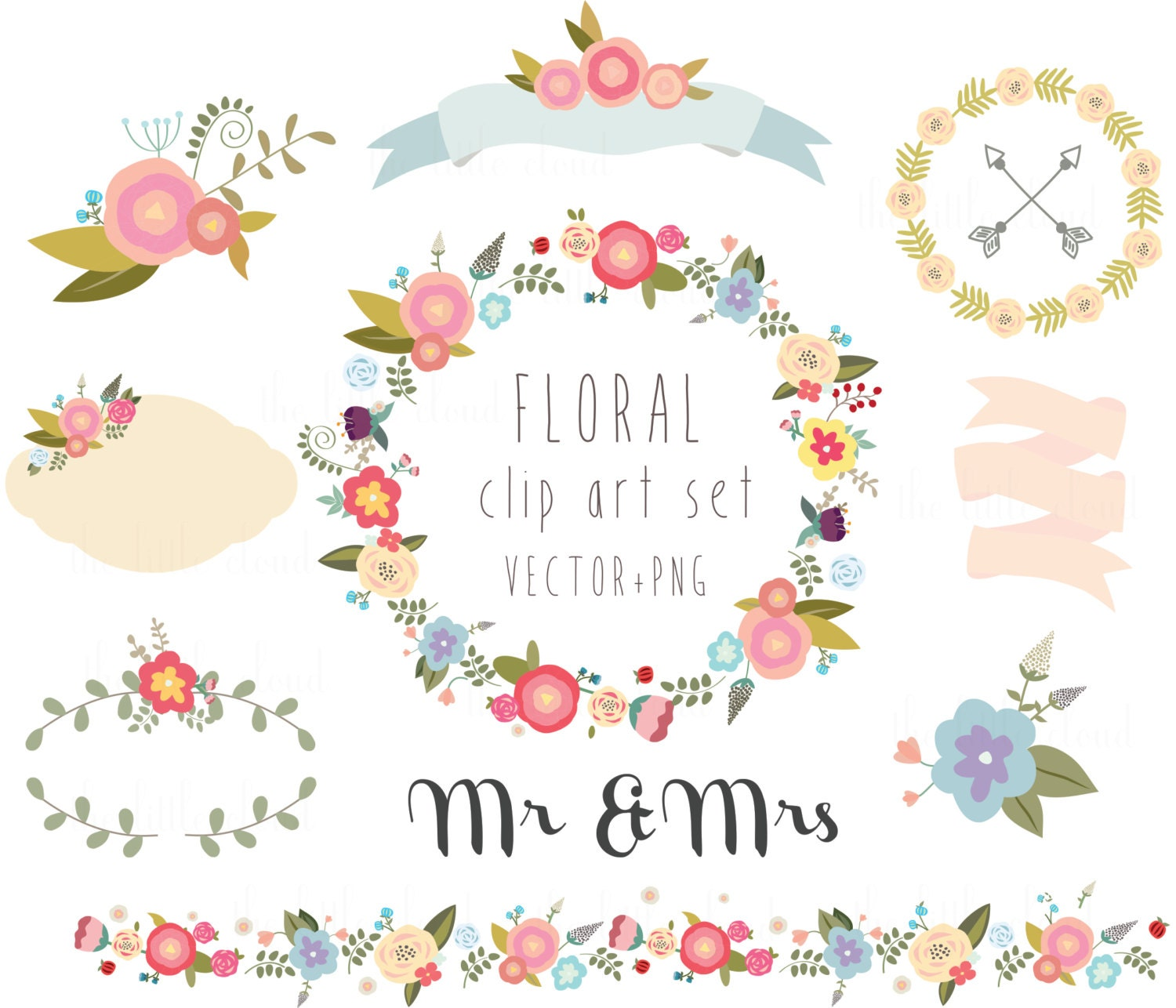 Wedding And Certificate Floral Border Border Clipart: Floral Clipart Wedding Clipartvector PNG Digital Wreath