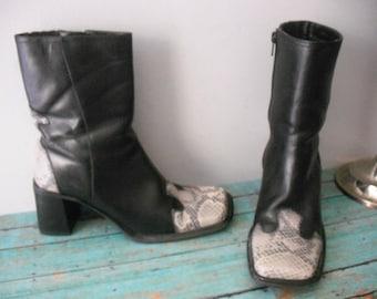 vintage Black leather and snake skin calf boots Size 6 1/2 RockAbilly Diba Brazil
