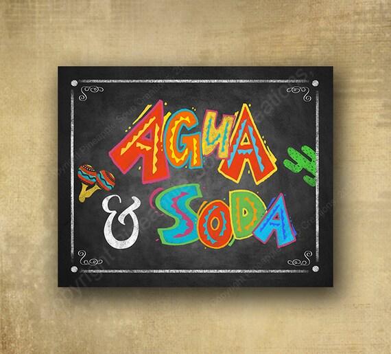 Aqua and Soda Sign, Printed Party Sign - Fiesta Bar Sign,taco bar sign, birthday fiesta, wedding fiesta, Cindo de Mayo sign, grad party sign