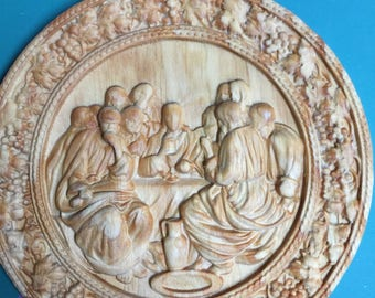 3D Carved Last Supper Round Plate - Jesus Religious