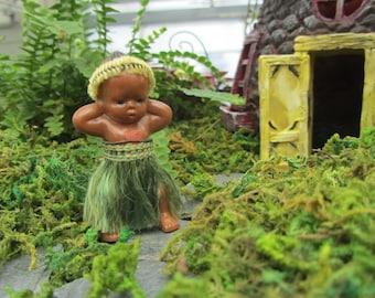 Vintage Hula Doll Miniature Plastic Hawaiian Dancer OOAK Decoration