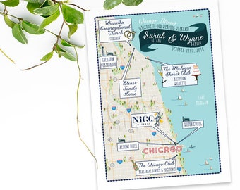 Custom Wedding MAP-Any Location Available-Chicago Area Map-Destination Wedding, City Map- Wedding Itinerary, Direction, out of town bags