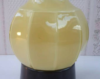 Mid century ceiling light - small yellow Globe / Sphere opaline lamp shade with Ceiling fixture
