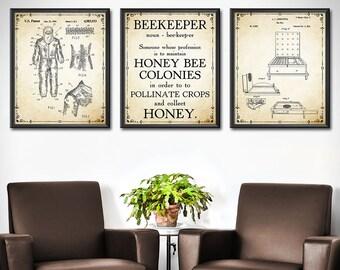 Beekeeper Gift Wall Art - Set of 3 - Beekeeper Wall Decor - Beekeeping Poster - Honeycomb - Bee hive - Honey Bee Poster - 1378
