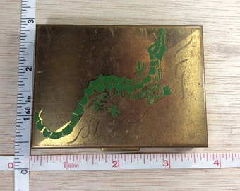Vintage Old Gold Toned Compact Green Alligator Mirror Bad And Needs Reglued Used