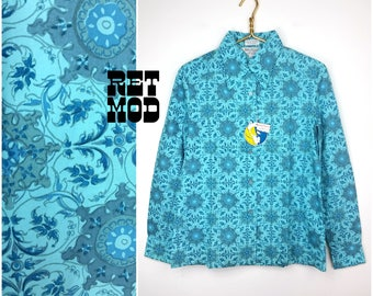 Vintage 50s Turquoise Blue Patterned Cotton Blouse with Original Tags! Deadstock!