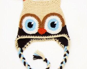 Owl Hat, Crochet Owl hat, Kids Winter Hat, Earflap Hat, Toddler Outfit, Bird Hat, Cute kids Hat, Infant Hat, Unique Kids Hat, Women Ski Hat