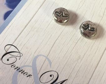 Handmade Sterling Silver Nugget Earrings with Heart accent stamp