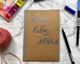 Personalised Embossed Kraft Notebook - A5 size - Metallic - Hand Lettered - Meeting Note Book - Customised Notebook - Name or Quote Notebook
