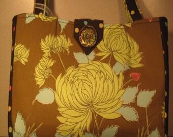 Elizabeth, Large Floral and Polka Dot Handbag, Purse, Handbag, Fabric, Brown, Floral, Bag, Amy Butler, Robert Kaufman