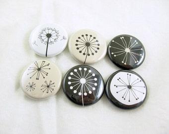 Dandelions fridge magnet set, black and white, bottle cap magnet, pin back button, wine charms, cute fridge magnets 1260