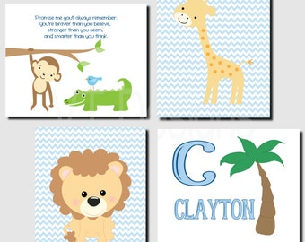 Jungle Animals Nursery Wall Art, Baby Boy Nursery, Safari Animals, Personalized, Initial and Name, Promise Me, Set of 4, Prints or Canvas