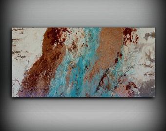 Peinture acrylique 24 x 48 peinture abstraite peinture murale abstraite Art grand Wall Art toile cuivre Home Decor mural toile de cuivre