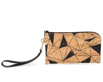 Phone Wallet Clutch Bag in Geometric Cork with Detachable Wristlet Strap