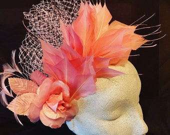Dusky pink Feather Fascinator / Headpiece with flower detail