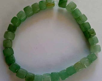 Green Aventurine gemstone 6mm cubes