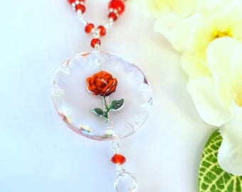 Beauty and the Beast Rose Glass Swarovski Crystal Pendant Necklace