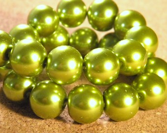 20 glass Pearl iridescent 12 mm - Green-PE195-4 beads