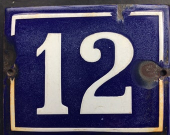 Vintage French enamel house number - number 13. Traditional blue and white.