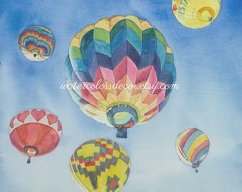 Hot Air Balloon Watercolor Print. Balloon painting. Balloon wall art. Balloon picture. Watercolor art. Watercolor balloon. Balloon artwork.