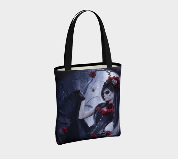 Day of the Dead art tote bag