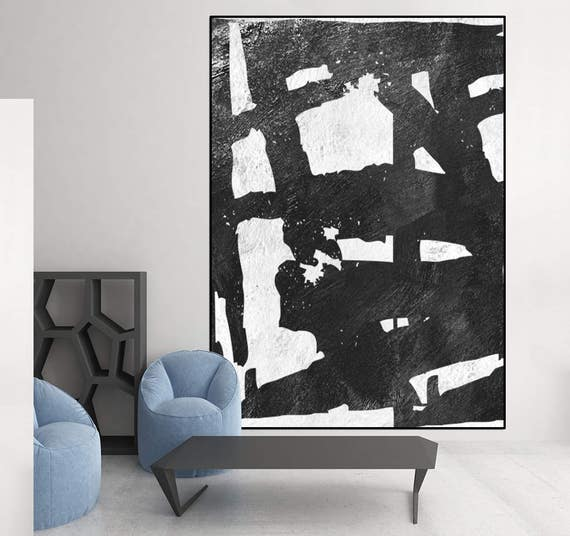original gem lde schwarz und wei abstrakte kunst leinwand. Black Bedroom Furniture Sets. Home Design Ideas