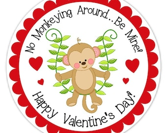 Monkey and Vine Valentine's Day Stickers, 2.5 inch round