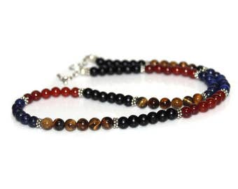 Men's Necklace, Mixed Gemstone and Sterling Silver Beads Necklace, Gift for Man, Bead Necklace Man, Men's Garnet Necklace, Necklace for Men