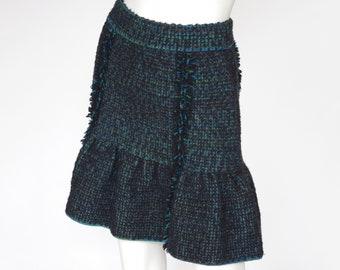 M Missoni Green & Blue Stretchy Boucle Wool Knit Flared Mini Skirt Sz 40