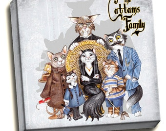 CAT ART PRINT - The Cattams Family  - Cats portraying the Addams Family 10x10 Ready to Hang Canvas