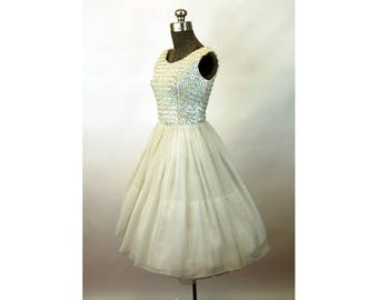 1950s dress white with sequin bodice chiffon skirt full sweep party wedding dress Size S