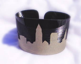Cleveland Skyline Stencil in Champagne Silver Vinyl Record Cuff Bracelet made from an Upcycled Reclaimed LP