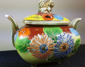 Antique Potpourri Bowl Jar Ceramic Pottery Early 1900's Hand Painted