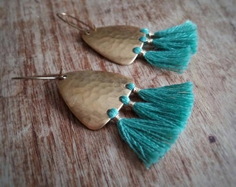 Tassel earrings. Gold tassel earrings. Gold and aqua blue earrings. Chandelier earrings. Boho earrings.