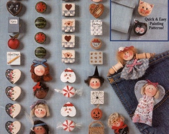 Buttons to Wear, Tole Painting Craft Booklet Suzanne McNeill Design Originals 2225 Witch Santa