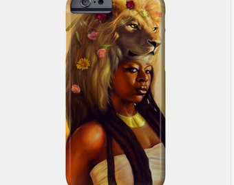 Leo iPhone Case African American Goddess Black Girl Magic Afrofuturism by Sheeba Maya