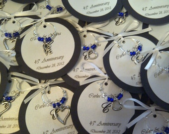 Custom Hearts and Love Wine Charm Favors - Weddings, Bridal Shower, Rehearsal Dinner, Anniversary, Birthday Party or Special Event