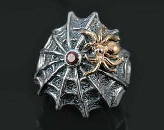 Spider Web Red Garnet Two Tone Oxidized Sterling Silver Gothic Ring LR-080
