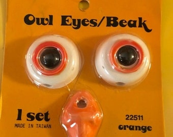 Vintage 1970's Handy Craft Pak Owl Eyes and Beak in Original Package for Macrame or Beading Projects