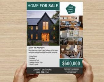 "Customizable Real Estate Marketing Flyer Template 8.5x11"" INSTANT DOWNLOAD"