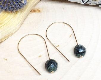 Vintage Jasper 14k Gold Filled 22g Threader Earwire Earrings