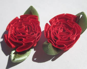 2 large bows in colorful fabric - flower 25mm width approx (A117)